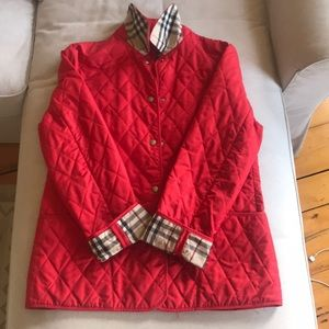 Burberry quilted red jacket